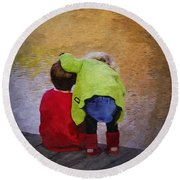 Sibling Love Round Beach Towel by Brian Wallace