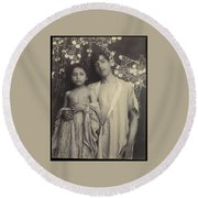 Sicilian Boy And Girl Before Floral Textile Round Beach Towel