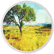 Round Beach Towel featuring the photograph Sicilian Landscape With Tree by Silvia Ganora
