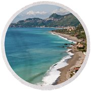 Sicilian Sea Sound Round Beach Towel