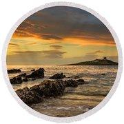 Sicilian Sunset Isola Delle Femmine Round Beach Towel