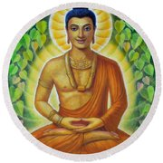 Round Beach Towel featuring the painting Siddhartha by Sue Halstenberg