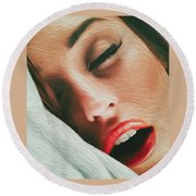 Round Beach Towel featuring the photograph Side Kiss- by JD Mims