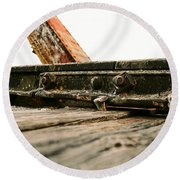 Side Of Rail #photography #trains Round Beach Towel