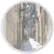 Side Street Round Beach Towel by Victoria Harrington