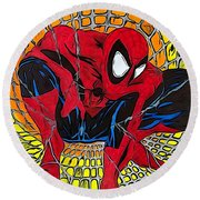 Round Beach Towel featuring the drawing Spider-man Illustration Edition by Justin Moore