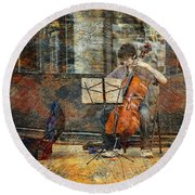Sidewalk Cellist Round Beach Towel