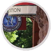Round Beach Towel featuring the photograph Sidewalk View Jazz Station  by Colleen Cornelius
