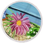 Sidewalk View Round Beach Towel