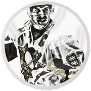 Sidney Crosby Pittsburgh Penguins Pixel Art 4 Round Beach Towel by Joe Hamilton