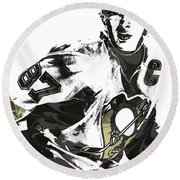 Sidney Crosby Pittsburgh Penguins Pixel Art Round Beach Towel by Joe Hamilton
