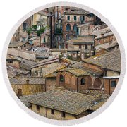 Siena Colored Roofs And Walls In Aerial View Round Beach Towel