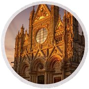 Round Beach Towel featuring the photograph Siena Italy Cathedral Sunset by Joan Carroll