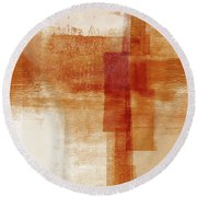 Sienna 1- Abstract Art By Linda Woods Round Beach Towel