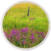Sierra  Byway Wildflowers Round Beach Towel