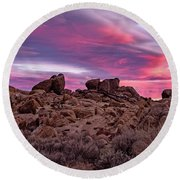 Sierra Clouds At Sunset Round Beach Towel