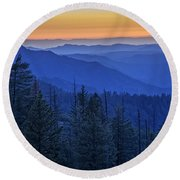 Sierra Fire Round Beach Towel by Rick Berk