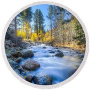 Sierra Mountain Stream Round Beach Towel