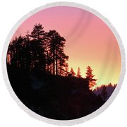 Sierra Nevada Dusk Round Beach Towel