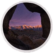 Sierra Nevada Moon Round Beach Towel by Dustin LeFevre