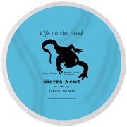 Sierra Newt - Black Round Beach Towel