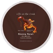 Sierra Newt - Color Newt - White Text Round Beach Towel