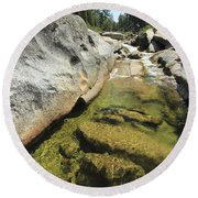 Round Beach Towel featuring the photograph Sierra Summer Flow by Sean Sarsfield