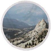 Mountain View Round Beach Towel by Diane Bohna