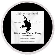 Sierran Tree Frog - Black Graphics Round Beach Towel