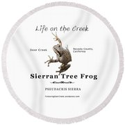 Sierran Tree Frog - Photo Frog, Black Text Round Beach Towel