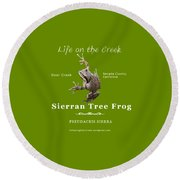 Sierran Tree Frog - Photo Frog, White Text Round Beach Towel