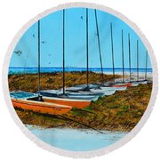 Siesta Key Access #8 Catamarans Round Beach Towel