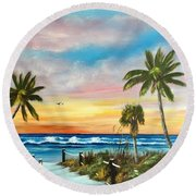Siesta Key At Sunset Round Beach Towel