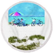 Siesta Key Beach Bikes Round Beach Towel