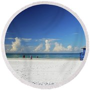 Round Beach Towel featuring the photograph Siesta Key Life Guard Shack by Gary Wonning
