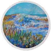 Siesta Key Sand Dune Round Beach Towel by Lou Ann Bagnall