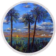 Siesta Summer Sunset Round Beach Towel by Lou Ann Bagnall
