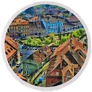 Round Beach Towel featuring the painting Sighisoara From Above by Jeff Kolker