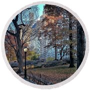 Round Beach Towel featuring the photograph Sights In New York City - Central Park by Walt Foegelle