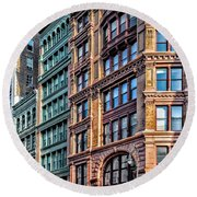 Round Beach Towel featuring the photograph Sights In New York City - Colorful Buildings by Walt Foegelle