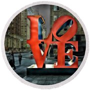 Sights In New York City - Love Statue Round Beach Towel