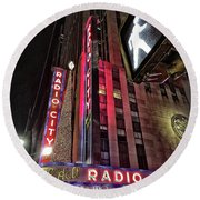 Sights In New York City - Radio City Round Beach Towel