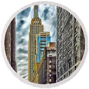 Round Beach Towel featuring the photograph Sights In New York City - Skyscrapers 10 by Walt Foegelle