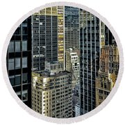 Round Beach Towel featuring the photograph Sights In New York City - Skyscrapers Shot From Skyscraper by Walt Foegelle