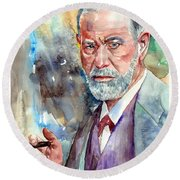 Sigmund Freud Portrait Round Beach Towel