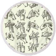 Sign Language Alphabet Round Beach Towel