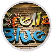 Sign Of Stella Blue Round Beach Towel