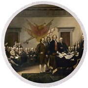 Signing The Declaration Of Independence Round Beach Towel by War Is Hell Store