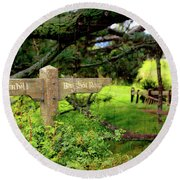 Signpost In Hobbiton Round Beach Towel