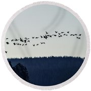 Signs Of Spring - Migrating Geese Round Beach Towel